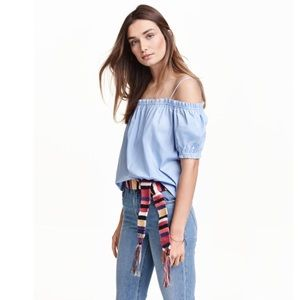 Ruffled Off Shoulder Short Sleeve Cami Swing Top